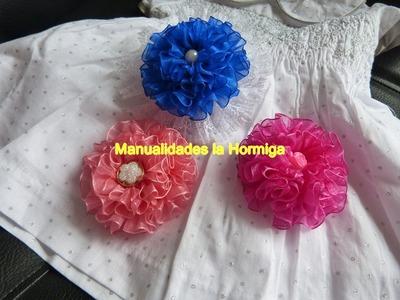 Flores grandes cinta organza para decorar moños,. lazos accesorios  para el cabello