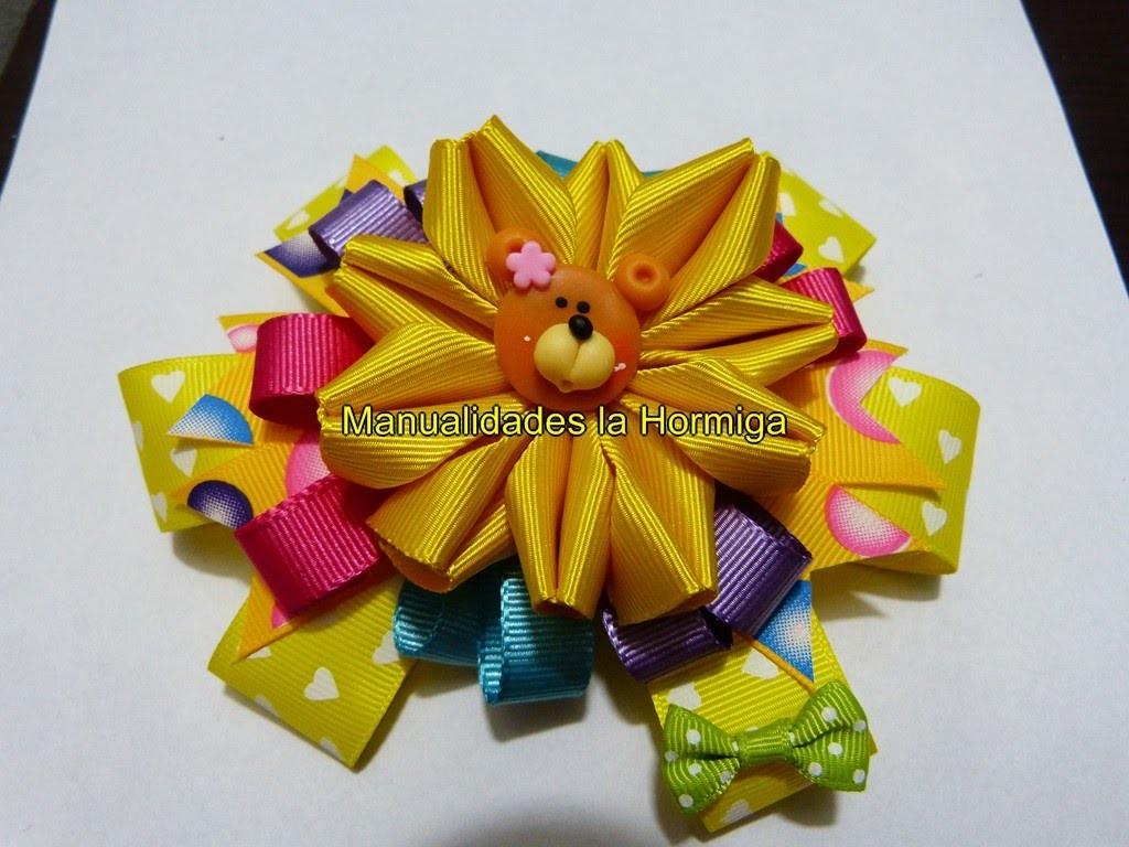 Flores novedosas para decorar moños en cinta para el cabello paso a paso