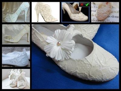 Forrar zapatos con encaje de novia o comunion igual que el vestido