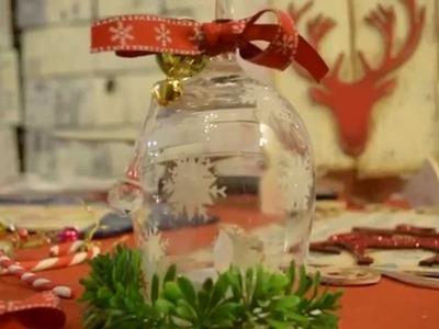 Ideas Navideñas - Copas de Vidrio con Stenciles y Gibre - Botas Navideñas