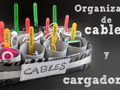 Organizador de cables y cargadores | Organizador con cajas de cartón