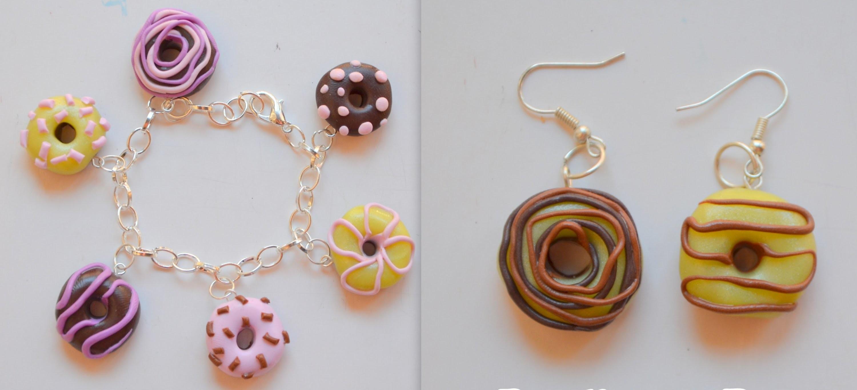 Pulsera y pendientes donuts (Arcilla polimérica) - Donut earring fimo
