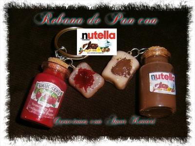 Rebanada de Pan con Nutella (Porcelana Fria).Slice of bread with Nutella
