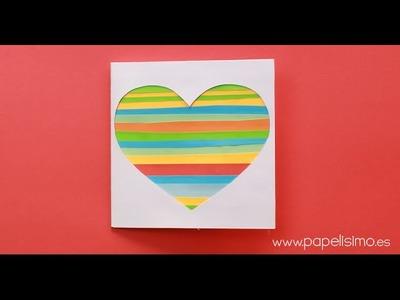 Tarjeta corazón con recortes de papel (Manualidades San Valentín)