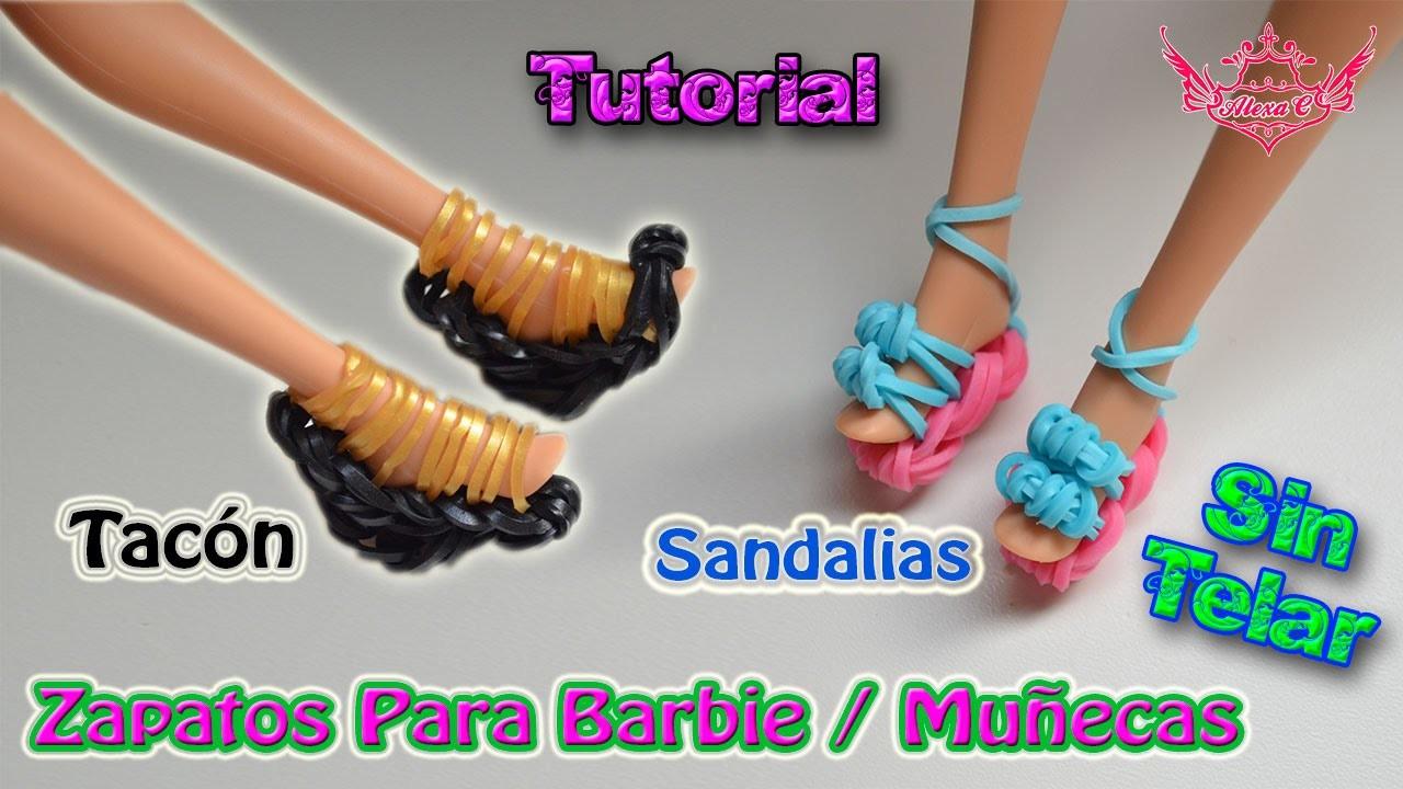 ♥ Tutorial 2 en 1: Zapatos (Tacón y Sandalias) para Barbie de gomitas (sin telar) ♥