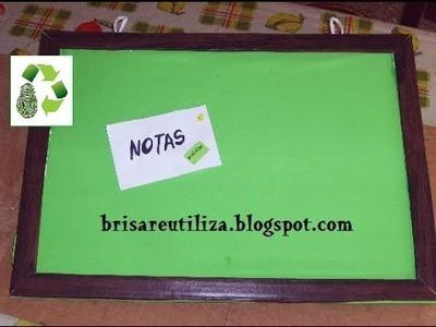 37. DIY PINBOARD  (CARTELERA) RECICLAJE DE CARTÓN, TELA Y CORCHO BLANCO