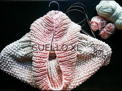 Aprende a tejer con agujas circulares: Patrón fácil Cuello XL