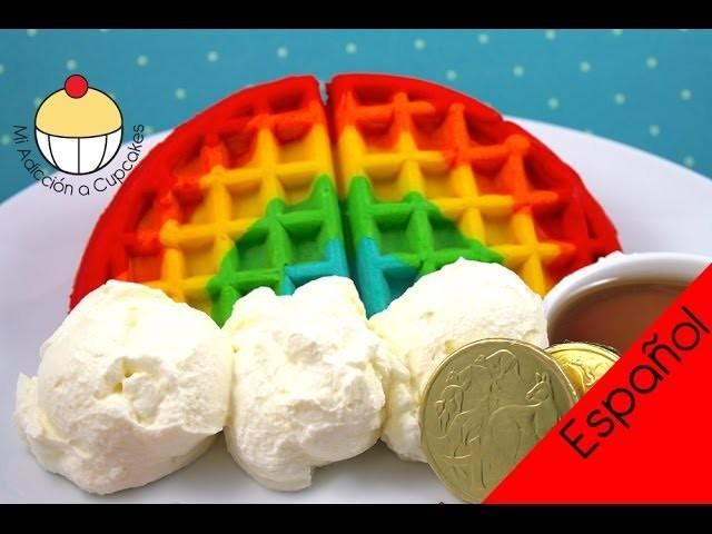 ¡Cómo Hacer WAFFLES ARCOÍRIS! Fácil Receta de Waffle Arcoíris por Cupcake Addiction