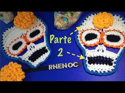 CALAVERA colorida parte 2.3 Ganchillo Crochet, FRENTE Y BARBILLA