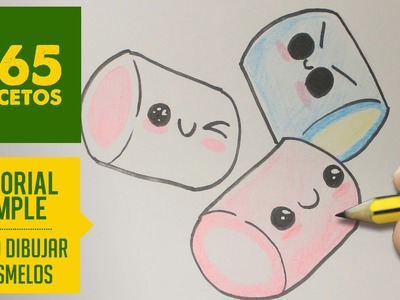 COMO DIBUJAR UN MASMELO KAWAII PASO A PASO - Dibujos kawaii faciles - How to draw a marshmallow