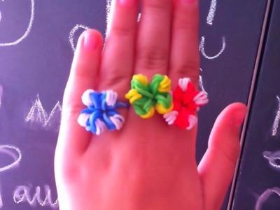 Cómo hacer ✿✿ ANILLO DE FLORES CON GOMITAS ✿✿ SIN TELAR . Flower Charm without Loom