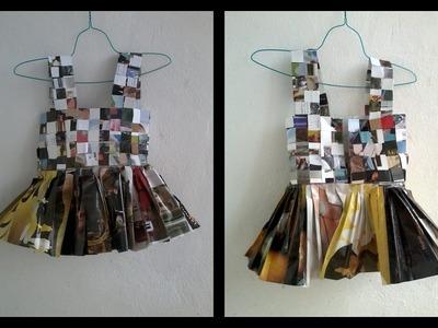 Como hacer un chaleco top de papel reciclado periodico revista paso a paso manualidades para vestuar