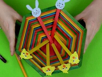 Cómo hacer una cesta de Pascua y animales con palitos de helado