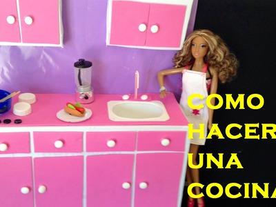 COMO HACER UNA COCINA PARA TUS MUÑECAS. HOW TO MAKE A KITCHEN FOR DOLLS