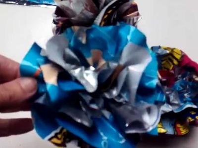 Como hacer una flor con bolsas de aperitivos