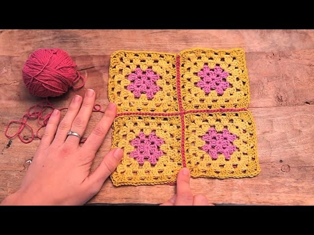 Cómo unir cuadrados con punto raso | How to join granny squares with slipstich