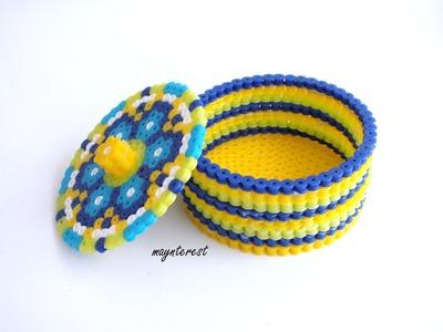 DIY: Cómo hacer una CAJA REDONDA de perler beads (hama beads) |  Manualidades