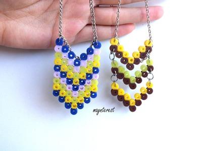 Manualidades DIY: 2 COLLARES distintos de perler beads (hama beads) | Necklaces