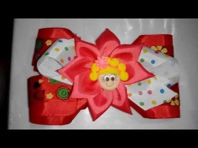 Moño- Lazo para el cabello facil de elaborar , decorado con flores e cinta