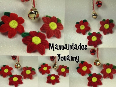 NOCHEBUENAS HECHAS CON LIMPIA PIPAS .POINSETTIA MADE OF PIPE CLEANER.