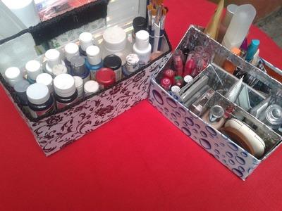 Organizador con una caja de zapatos,Muy facil!!
