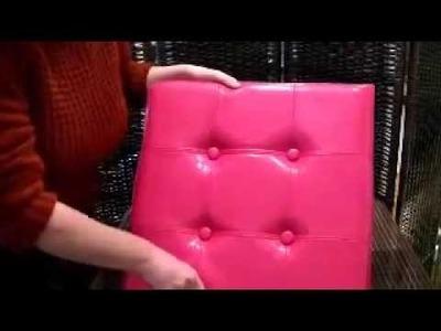 Puff Rosa Plegable para usar o guardar