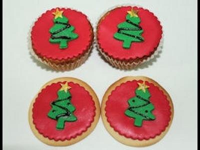 Arbol de navidad de fondant para cupcakes, cookies y cake pops