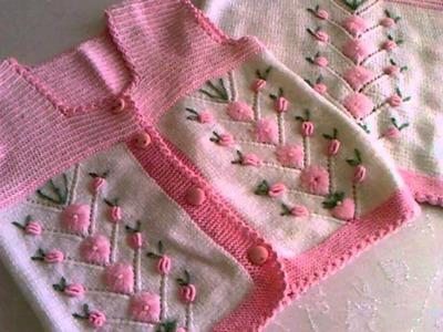Blusas y chalecos tejidos a dos agujas para bebe
