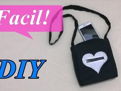 DIY.  Mini bolso o bandolera con bolsillo de corazon