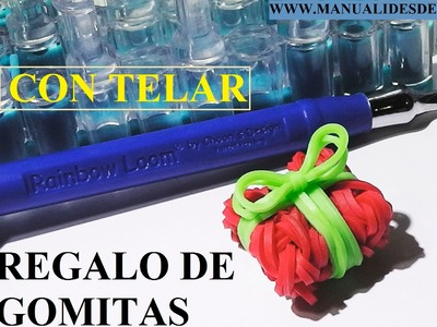 MANUALIDADES DE NAVIDAD. Regalo de navidad de gomitas con telar Rainbow Loom. Tutorial diy