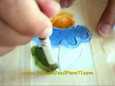 Pintura de Flores 02 Pintura en Tela - Pintura Facil Para Ti.wmv