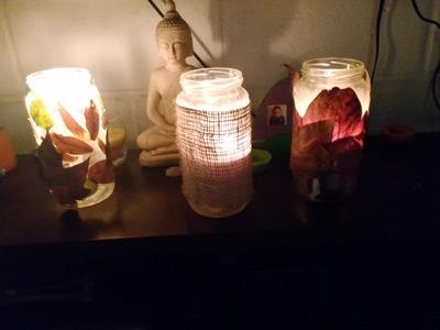 Porta velas con frasco de vidrio manualidad otoñal¡¡ facil