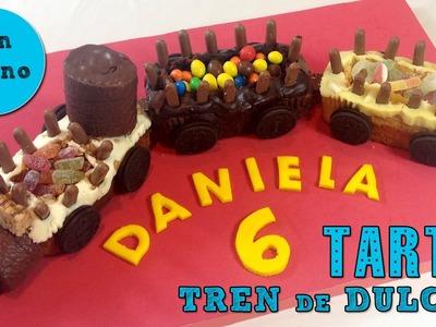 Tarta de cumpleaños fácil: tren de dulces