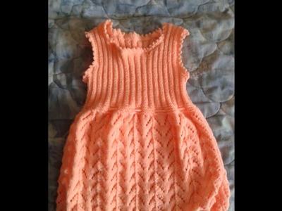 Vestidos bonitos tejidos a dos agujas para niña