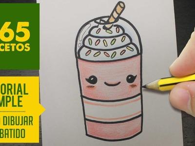 COMO DIBUJAR UN BATIDO KAWAII PASO A PASO - Dibujos kawaii faciles - How to draw a milkshake