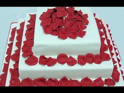 Cómo hacer tarta de fondant con pétalos de rosas
