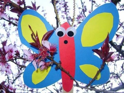 Manualidades de papel: Titere de mariposa