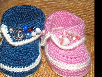 Modelos de zapatitos tejidos a dos agujas para bebe