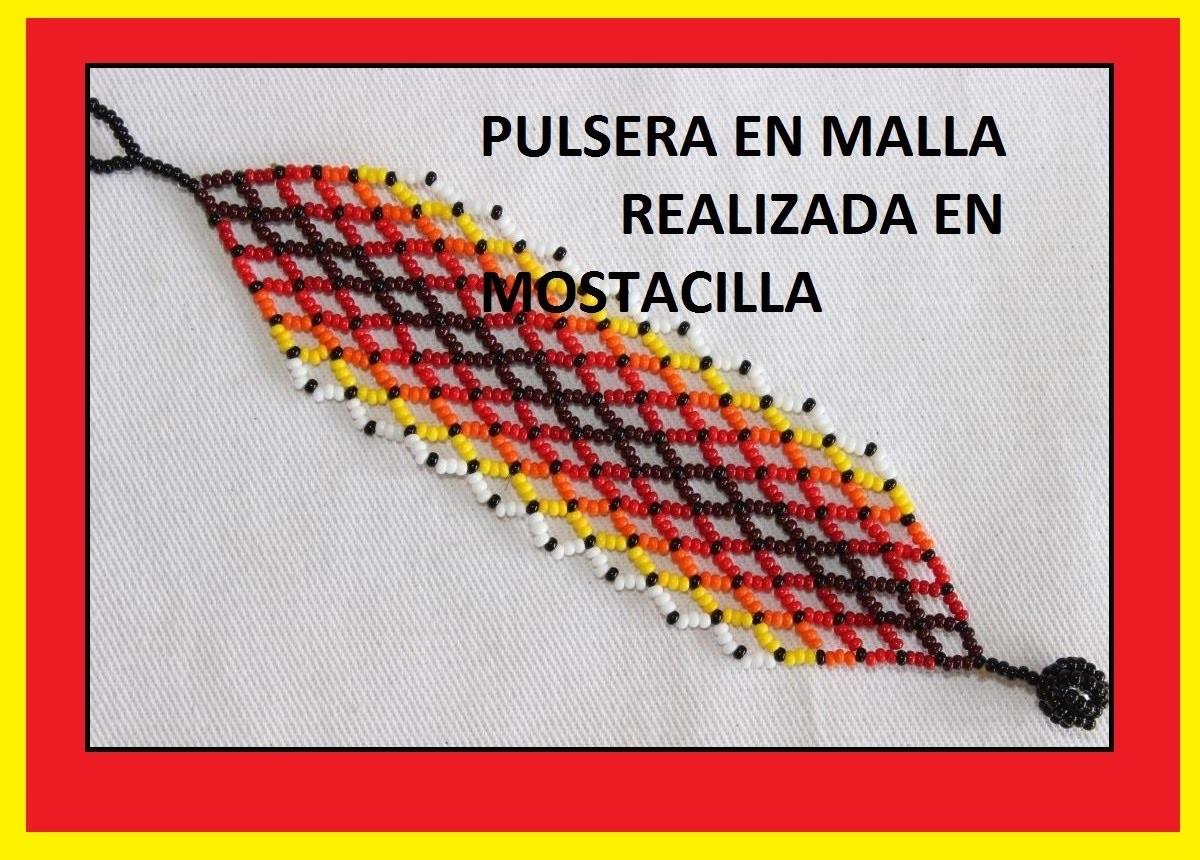 TÉCNICA MALLA EN MOSTACILLA.PULSERA