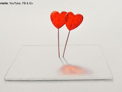 Cómo dibujar paletas de corazón en 3D - Arte Divierte.