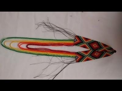Como hacer un collar colorido en mostacilla