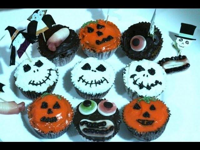 Cupcakes Hallowen con Crema de Queso , Chocolate y Vainilla| How to make Hallowen Cupcakes