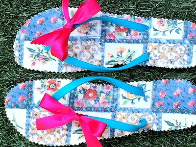 DIY: decorar sandalias o chanclas con tela. Fabric diy flip flop