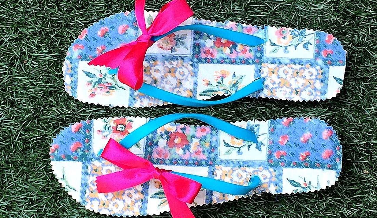 DIY: decorar sandalias o chanclas con tela. Fabric diy flip flop
