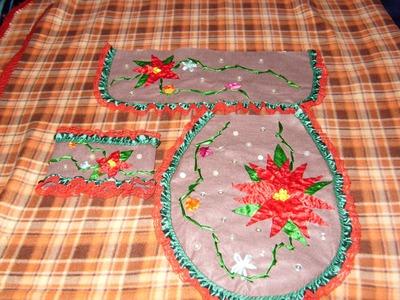 DIY Juego de baño bordado en listón para esta Navidad  2 de 4