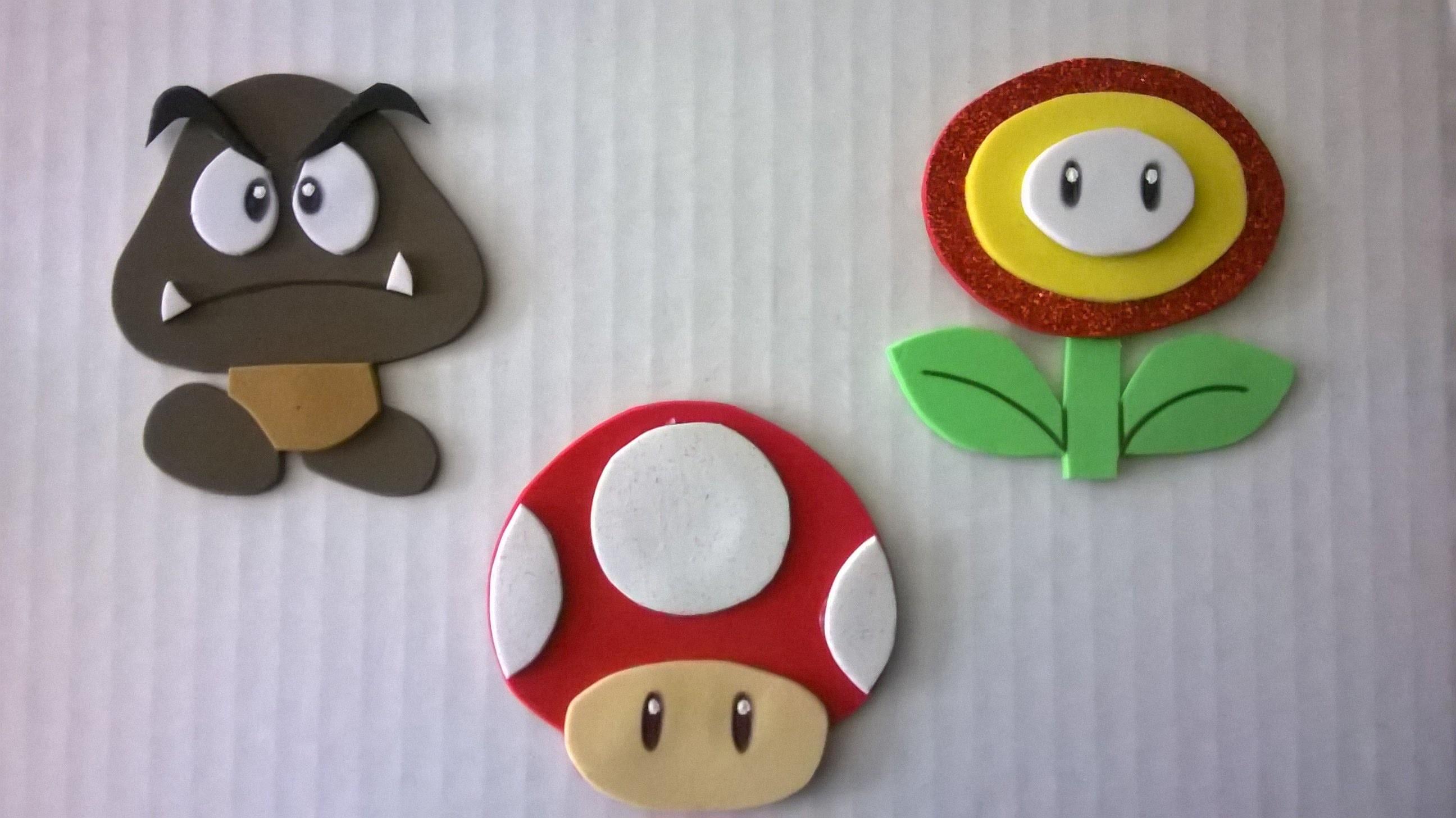 DIY Personajes de Mario bros en foamy!! fire flower, mushroom and goomba