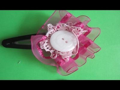 Hebillas con Flores de Tela para niñas y adolescentes . Fabric flower buckles.