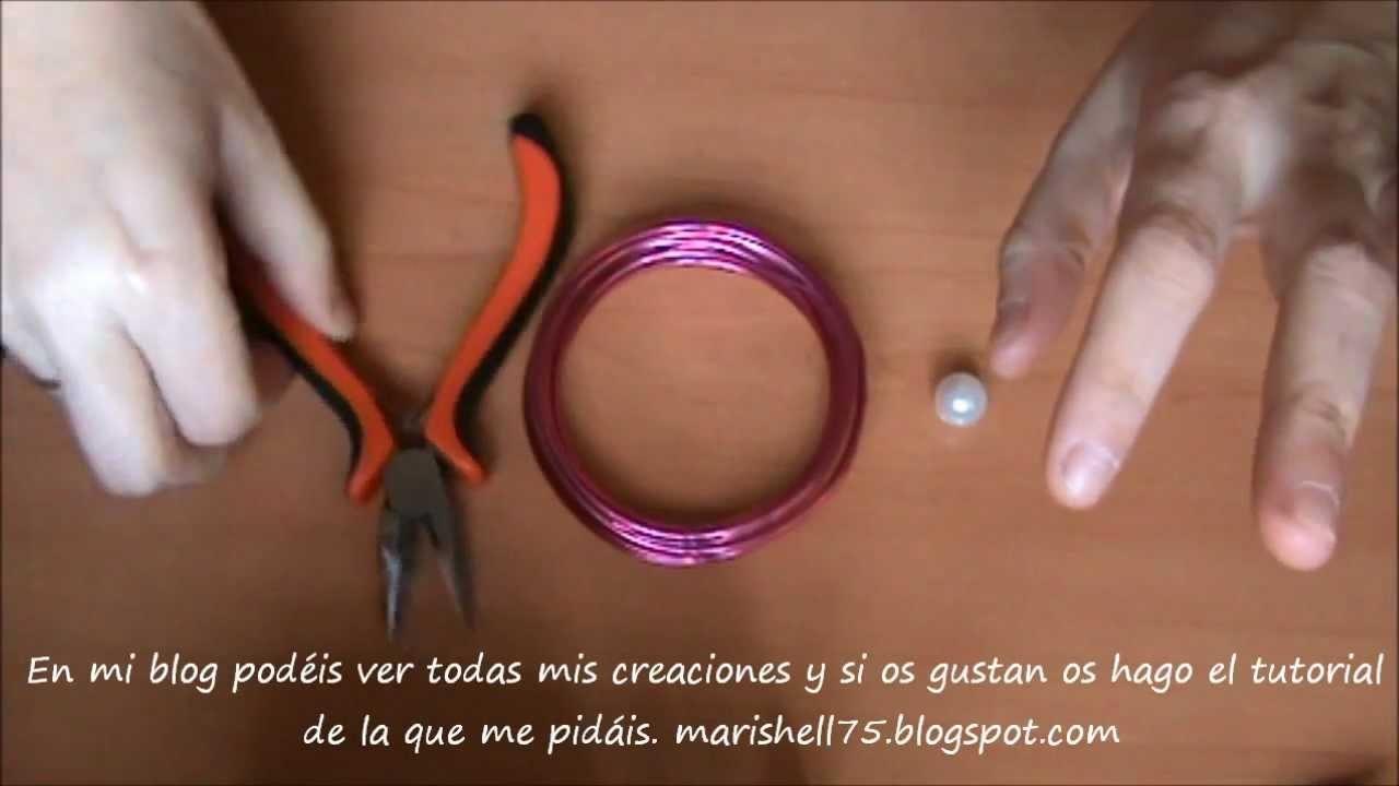 Anillo artesanía de alambre con perla