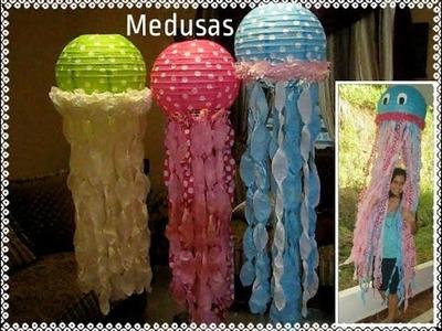 Como hacer medusas o aguaviva con lamparas redondas de papel (jellyfish lanterns) Manualidades