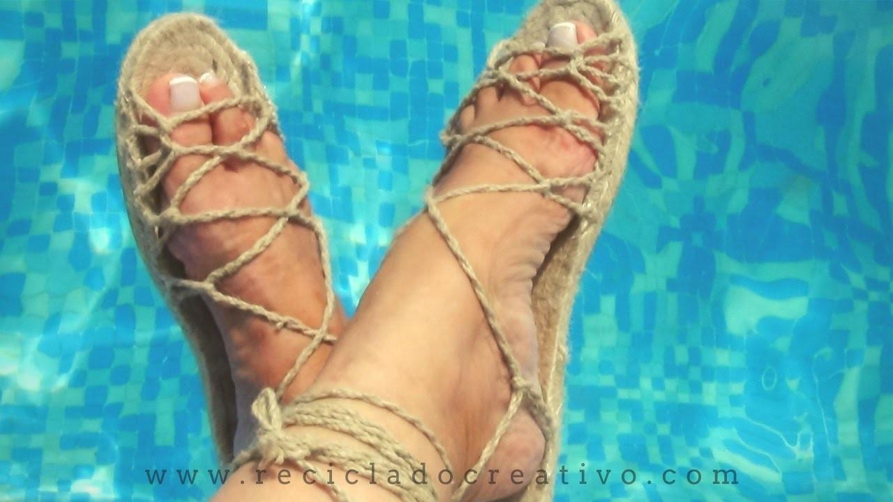 DIY Más de 20 sandalias con una sola suela.How to make 20 sandals with only one espadrilla sole